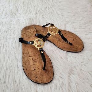 Michael Kors Sz 9 Black Jelly & Cork Logo Sandals